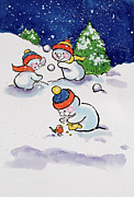 Snow Landscapes Paintings - Little Snowmen Snowballing by Diane Matthes