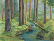 Woods; Shadows; Trees Paintings - Little Stream in the Woods by Vidyut Singhal