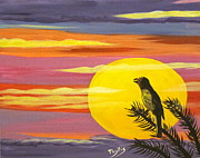 Singing Painting Originals - Little Sunset bird by Phyllis Kaltenbach