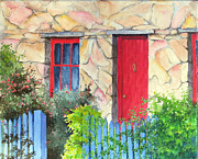 Carol Mclagan Art - Little Tassie Red Door by Carol McLagan
