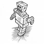 Wire Drawings Prints - Little Timmy - The Robot Print by Karl Addison