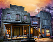 Old Mixed Media Acrylic Prints - Little Town Acrylic Print by Joel Payne