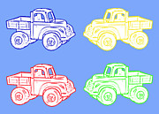 Toys Digital Art - Little Toy Trucks on Blue by Barbara Griffin