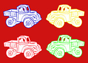 Toys Digital Art - Little Toy Trucks on Red Background by Barbara Griffin