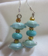 Disc Jewelry - Little Turquoise Saturns and Amber Earrings by Janet  Telander