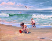 Nantasket Beach Prints - Little Tykes Print by Laura Lee Zanghetti