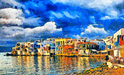 Surreal Landscape Painting Metal Prints - Little Venice Metal Print by George Rossidis