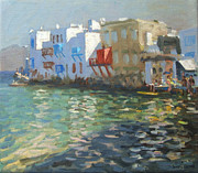 Balconies Paintings - Little Venice Mykonos by Andrew Macara