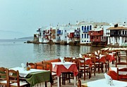 Table Cloths Posters - Little Venice on Mykonos Poster by Peter Mooyman