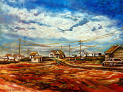 Abandoned Houses Painting Posters - Little Village Prince Edward Island Roadside Scenic Landscape Autumn Scene With Storm Clouds Poster by Carole Spandau