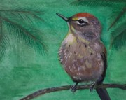 Warbler Paintings - Little Warbler by Leslie Allen