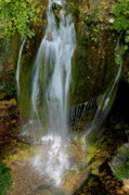 Locations Framed Prints - Little waterfall cascading among mossy rocks Framed Print by Sami Sarkis