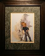 Cowboy Art Tapestries - Textiles - Little Whispers Framed by Janet  Hall