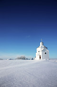 Granary Photos - Little White Church by Larysa Luciw