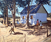 Children Playing Paintings - Little white house Karoo South Africa by Andrew Macara