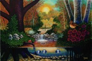 Toadstools Painting Originals - Little World Chapter Sunset by Michael Frank