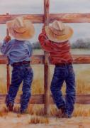 Ranch Pastels Prints - Little Wranglers Print by Ann Peck