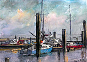 Seascape Drawings Originals - little yachting Ellewoutsdijk by Wim Wege van de