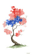 Flag Of Usa Painting Prints - Little Zen Tree 291 Print by Sean Seal