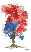 Flag Of Usa Painting Prints - Little Zen Tree 292 Print by Sean Seal