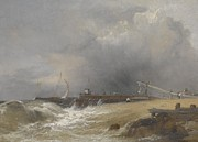 Sea Scape Paintings - Littlehampton pier on the Sussex Coast by James Baker Pyne