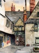 Brick Buildings Painting Framed Prints - Littlemore Court. Oxford. Framed Print by Mike Lester