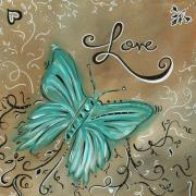 Aqua Flowers Framed Prints - Live and Love Butterfly by MADART Framed Print by Megan Duncanson