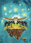 Great-horned Owls Paintings - Live by Cara Brown