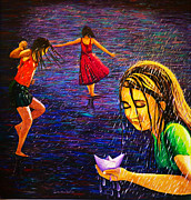 Raining Painting Originals - Live for the moment by Sushobha Jenner