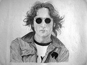 John Lennon Drawings Framed Prints - Live forever Framed Print by Jerome Bronzini