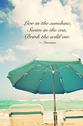Emerson Quote Prints - Live in the Sunshine Print by Kim Fearheiley
