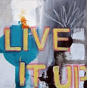 Grey Blue Prints - Live It Up Print by Linda Woods