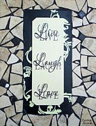 Live Art Ceramics Posters - Live-Laugh-Love Tile Poster by Cynthia Amaral