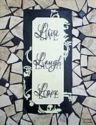 Live-laugh-love Tile Print by Cynthia Amaral