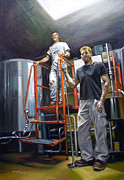 Figures Paintings - Live Oak Brewing Company Austin Texas by Gregg Hinlicky