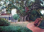 Live Oak Trees Paintings - Live Oak Gardens Jefferson Island LA by Todd A Blanchard