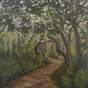 Live Oak Trees Paintings - Live Oak Path by Lorraine Kilmer