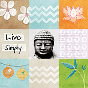 Bamboo Lanterns Prints - Live Simply Print by Linda Woods