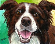 Border Prints - Liver and White Border Collie Print by Dottie Dracos