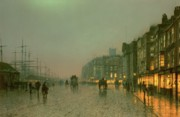 Street Lights Framed Prints - Liverpool Docks from Wapping Framed Print by John Atkinson Grimshaw