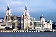 Landing Stage Prints - Liverpool Three Graces Print by Peter Chadwick