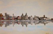 Liverpool Mixed Media - Liverpool Waterfront by Mike Paget