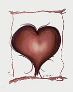 Hearts Drawings Framed Prints - Living By Heart Framed Print by Jon Veitch