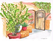 Acuarelas Paintings - Living-Desert-Botanical-Garden by Carlos G Groppa