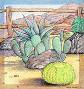 Color Pencils Prints - Living Desert Print by Snake Jagger