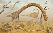 Bare Trees Metal Prints - Living Fossilized Omeisaurus Sauropod Metal Print by Mark Stevenson