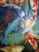 Multi Colored Paintings - Living Jewels koi series by Shanti Marie