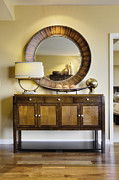 Credenza Framed Prints - Living Room Cabinet With Mirror Framed Print by Andersen Ross
