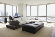 Home Office Furniture Framed Prints - Living Room With a City View Framed Print by Inti St. Clair