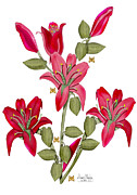 Merlot Prints - Living Sculpture II Merlot Lily Flowers and Buds Print by Anne Norskog